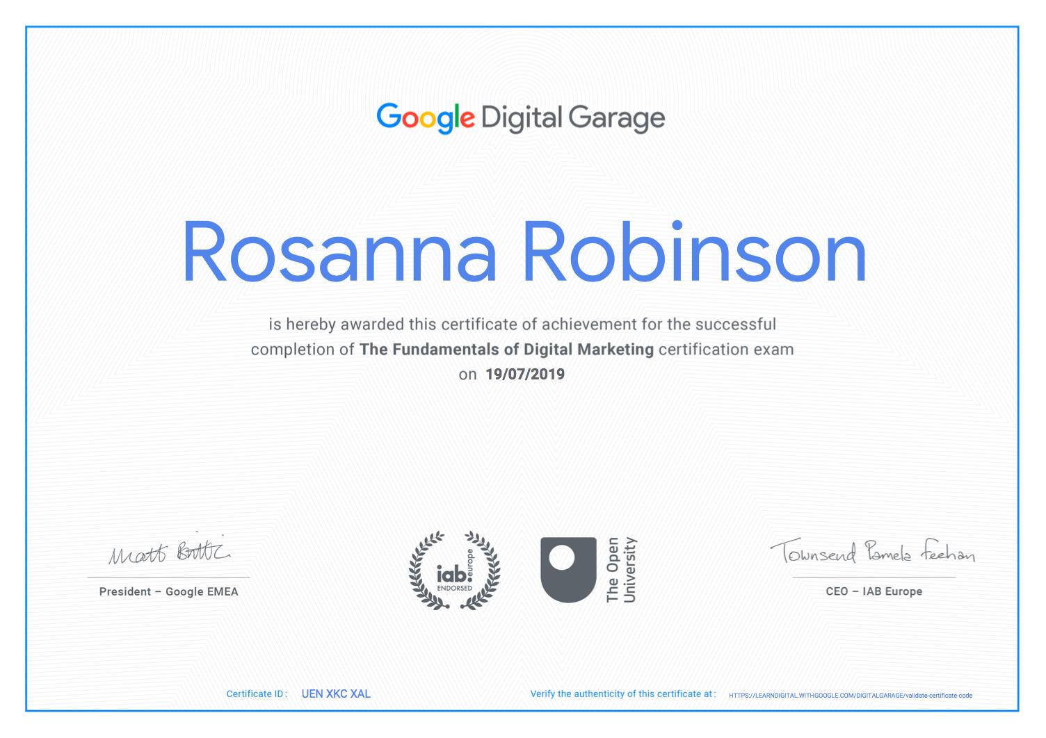 Rosie Robinson Digital Garage